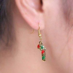 Candy Cane Dangle Drop Earrings